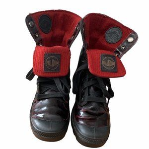 Palladium Red Patent Leather Knit Ankle Boot Size